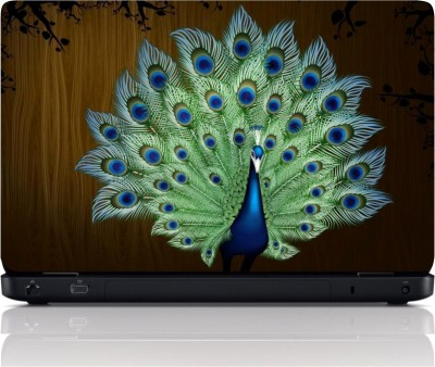 MGN Peacock On Wooden Background Vinyl Laptop Decal 15.6