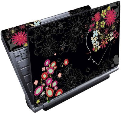 FineArts Floral Black Full Panel Vinyl Laptop Decal