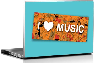 Seven Rays I Love Music Vinyl Laptop Decal 15.6