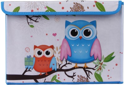 Uberlyfe Blue & Orange Owls Foldable Storage Box(Blue)