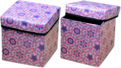 Fabriclair Foldable Eye-Catching Pattern Storage Living & Bedroom Stool(Multicolor)
