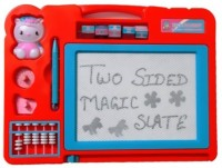 Nishi Double Sided Magic Slate For Kids With Counting Beads, Pen And Stamps(Multicolor)