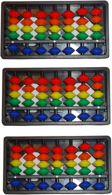 SAE FASHIONS Multicolor 7 Rod Abacus Kit Set Of 3
