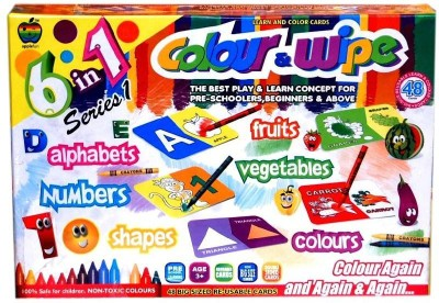 Applefun Colour & Wipe 6in1 Series-1 (Alphabets, Fruits, Numbers, Vegetables, Shapes, Colours)