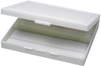 JAINCO Microscope Slide Box For 100 Slides, Plastic.