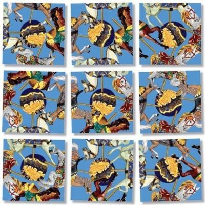 B.Dazzle Scramble Squares Puzzle Carousel Ponies(Multicolor)
