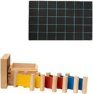 Aimedu Toy Combo Pack Of Wooden 3 Pair Primary Colour Tablet And Slate With Duster & Chalk