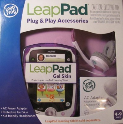 LeapFrog LeapPad Plug & Play Accessories Exclusive Purple Gel Skin, AC Adapter and Headphones
