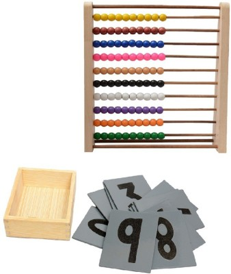 Aimedu Toy Combo Pack Of Wooden Sand Paper No. And Counting Frame For Kids Learning
