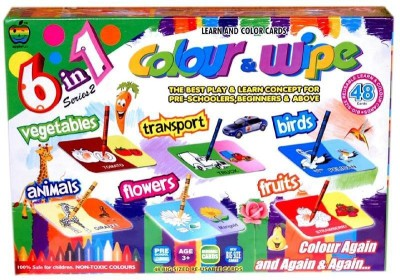 Applefun Colour & Wipe 6in1 Series-2 (Vegetables, Transport, Birds, Animals, Flowers, fruits)