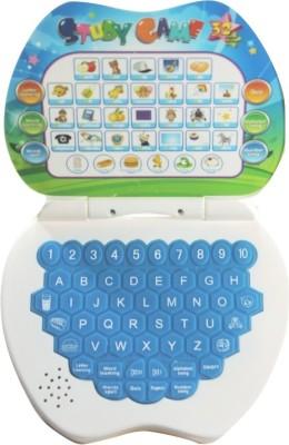 Littlegrin Apple Shaped Study Game Kids Mini Laptop