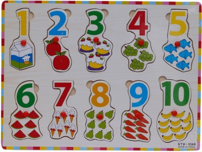 RVOLD Wooden Learning Board With Counting Numbers and Pictures