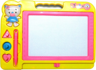 WebKreature Small Yellow Color Attractive Magic Slate + Black Chalk Board