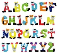 Kuhu Creations Wooden Alphabet Cartoon Magnet(Multicolor)