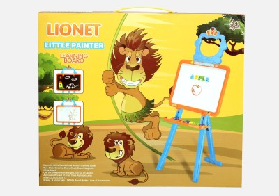 Planet of Toys Lion Little Painter Learning Magnetic Board, White Board & Chalk Baord (3 in 1)