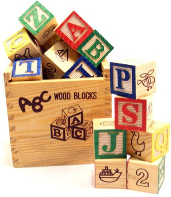 Tootpado High Quality Non-Toxic Wooden A-B-C and 1-2-3 Building(27 Wood Blocks,Size 2cm Square)(Multicolor)