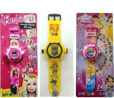 Users KIDS 3 WATCHES WITH 24 IMAGES OF MINIONS/PRINCESS N BARBIE