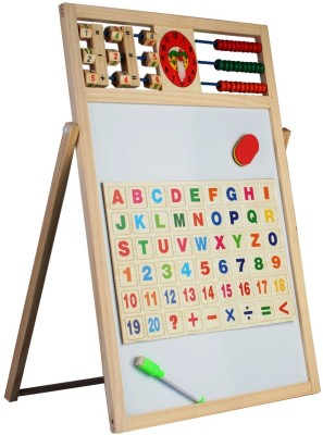 KAIXINMU Multipurpose Double-Sided Magnetic Wooden Writing Drawing Board with Abacus, Mathematical Calculations & English Alphabets