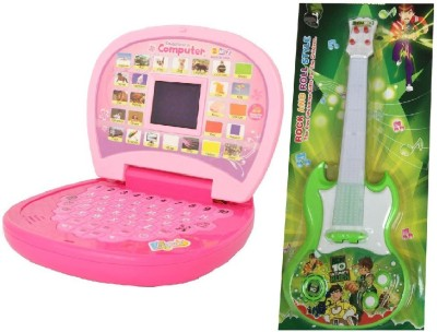 New Pinch combo of Kids English Mini Laptop with small screen & Musical Guitar Fetching Light and Sound