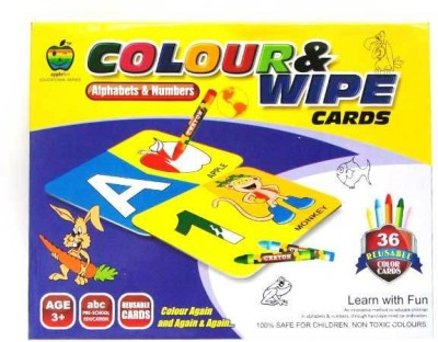 Lotus Applefun Colour & Wipe Cards Alphabets and Numbers
