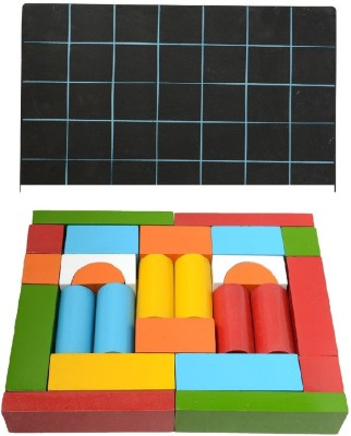 Aimedu Toy Combo Pack Of Wooden Building Block And Slate With Duster & Chalk For Kids Learning