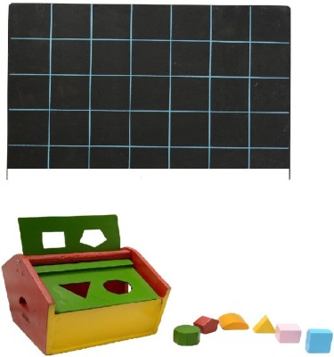 Aimedu Toy Combo Pack Of Wooden Shape Box Hut And Slate With Duster & Chalk For Kids Learning