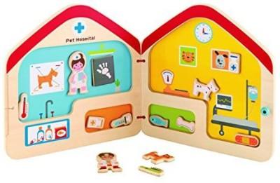 Hape Hape - Playscapes - Visit the Vet Wooden Magnetic Travel Book(Multicolor)
