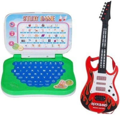 Shop & Shoppee combo of Mini English Learning Laptop & Rockband Music Guitar