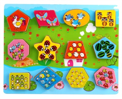Pigloo Wooden Count Shape Blocks for Kids