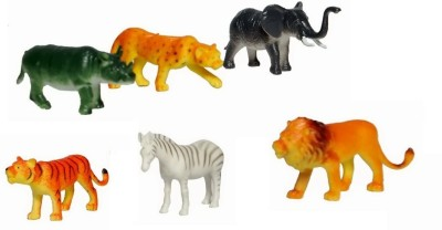zaid collections Pcs Wild Animals Set of 10-12cms - Learning and Educational Toy + Made of Rubber + Non-Toxic(Multicolor)