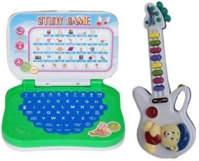Shop & Shoppee combo of Mini English Learning Laptop & Musical Guitar with Button