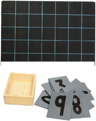 Aimedu Toy Combo Pack Of Wooden Sand Paper No. And Slate With Duster & Chalk For Kids Learning