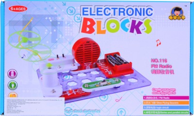 Planet of Toys Science Electronic Circuit Blocks - Create Exciting Projects (FM Radio, Glow Flying Saucer, Logic Circuit)