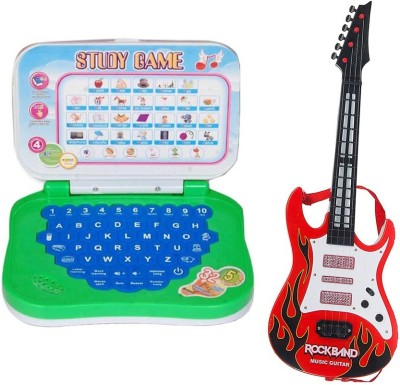 New Pinch Mini English Learning Laptop with large Battery Operated Musical Guitar With Light And Sound