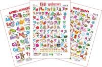 Spectrum Set of 3 Educational Wall Charts (Animal Alphabets, Hindi Varnamala & Marathi Mulakshare)(Multicolor)