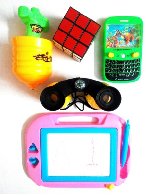 Electronic Fashions Fantastic Gift Combo of 5 Toys for Kids - Laser Top, 3X3 Cube, Water Game, Binocular and Wipe - Write Magical Slate Toy