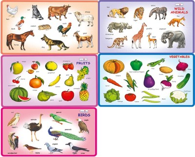 Creative's Creative's Play and Learn -Combo of Five-Puzzles namely- Wild Animals,Domestic Animals,Birds,Fruits and Vegetables.