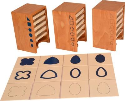 Kidken Montessori Geometrical Form Cards with Cabinet