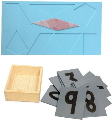 Aimedu Toy Combo Pack Of Wooden Sand Paper No. And Shape Magic For Kids Learning