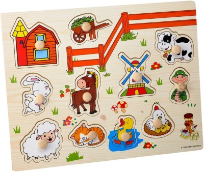 Priya Exports Farm Life Wooden Puzzle With Knob