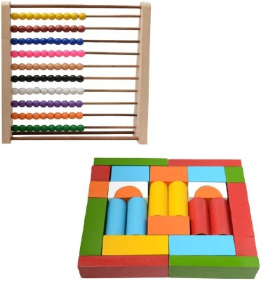 Aimedu Toy Combo Pack Of Wooden Building Block And Counting Frame 10-10 For Kids Learning