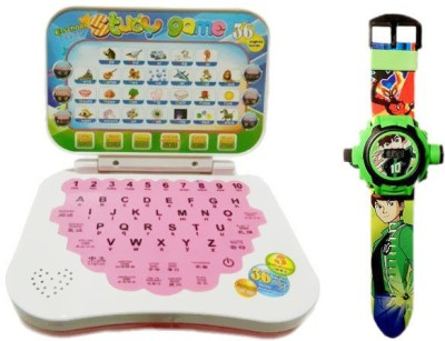 Turban Toys Mini English Learning Laptop With Green Projector Watch 24images