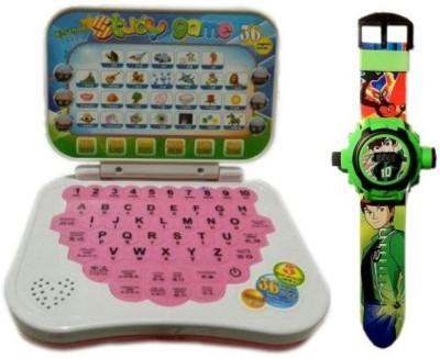 New Pinch Mini English Learning Laptop With Green Projector Watch 24images