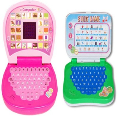 AQUARAS PINK MINI DISPLAY AND STUDY GAME LEARNING LAPTOP