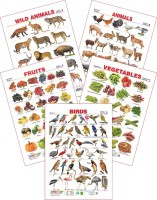 Spectrum Spectrum Set of 5 Educational Wall Charts (Wild Animals, Domestic Animals, Birds 2, Assorted Fruits 1 & Vegetables 1)(Multicolor)