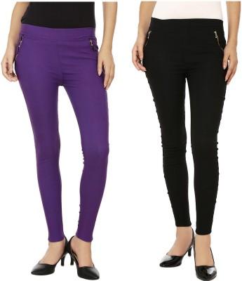 Lambency Women's Purple, Black Jeggings
