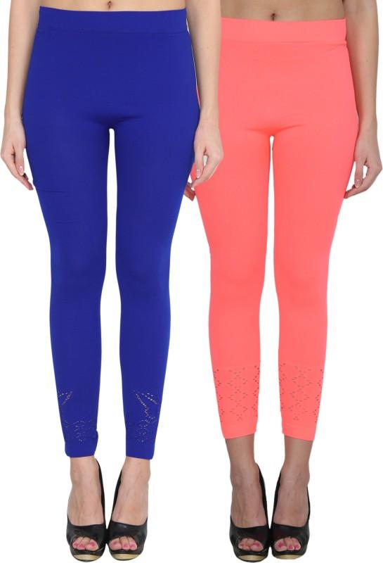 NumBrave Women's Blue, Pink Leggings(Pack of 2)