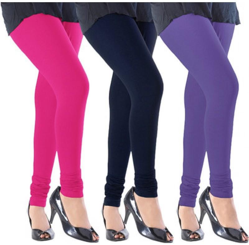 Angel Soft Womens Pink, Black, Purple Leggings(Pack of 3)