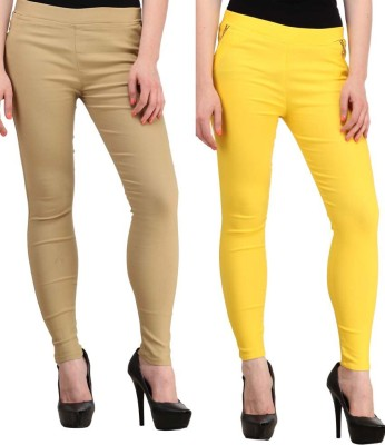 Magrace Women's Beige, Yellow Jeggings