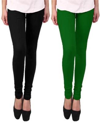 Escocer Women's Black, Green Leggings